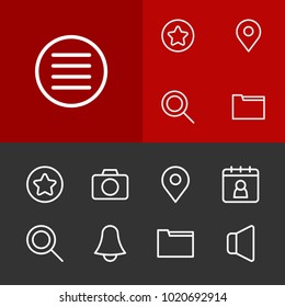 Web icons set with camera, list and date block elements. Set of web icons and location concept. Editable vector elements for logo app UI design.