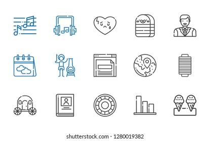 web icons set. Collection of web with ice cream, bar chart, shield, biography, carriage, thread, travel, browser, chimney, calendar, man, eraser. Editable and scalable web icons.