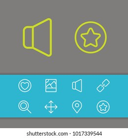 Web icons set with pin, navigate and volume elements. Set of web icons and maximize concept. Editable vector elements for logo app UI design.