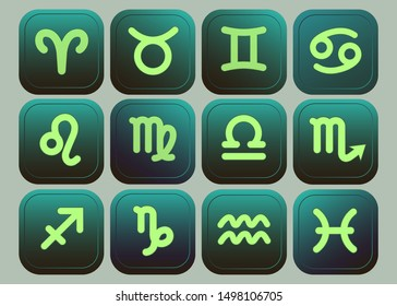 Web icons. Set of vector buttons with black and green gradient Collection of Zodiac signs: aquarius, virgo, capricorn, sagittarius, aries, gemini, scorpio, libra, leo, pisces, taurus, cancer.