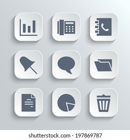 Web icons set - vector white app buttons with diagram fax phonebook pin speech bubble document chart trash can and folder symbols