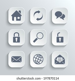 Web icons set - vector white app buttons with home refresh speech bubble lock search unlock mail globe