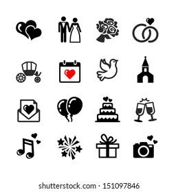 Web icons set. Wedding, bride and groom, love, celebration.