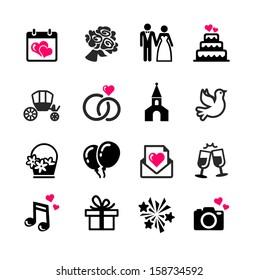 Web icons set - Wedding, marriage, bridal