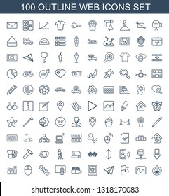 web icons. Trendy 100 web icons. Contain icons such as switch off, electricity, flag, paper plane, photo, documents box, diploma, chain, mouse, chart. web icon for and mobile.