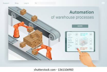 Web Illustration Automation Warehouse Processes. Female Hand Adjusts Machines for Work in Special Warehouse. She does it through her Tablet Convenient Work Management in Enterprise. Modern Buisness.