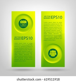 Web infographic green vertical banners with text round buttons and icons on gray background isolated vector illustration
