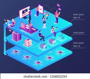 Web interactions. Blockchain 3d vector isometric illustration.