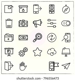 Web Interface line icons set plane and repeat