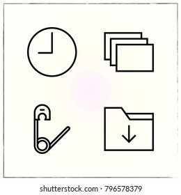 Web Interface line icons set time and windows
