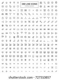 Web Interface. Minimalism vector symbols, line icons set for mobile and desktop screens design.