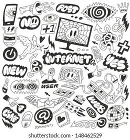 Web, Internet, computers doodles