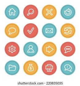Web & internet icon set 1, color circle buttons