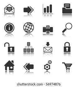 Web and Internet icons reflected on white background, isolated objects