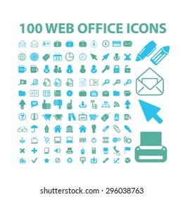 web, internet, office icons set, vector