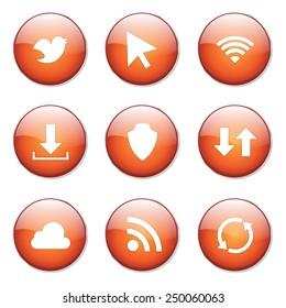Web Internet Social Orange Vector Button Icon Design Set