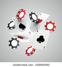 Web isometric template of cards and casino chips floating in the air. Casino chips, playing and poker plastic cards.