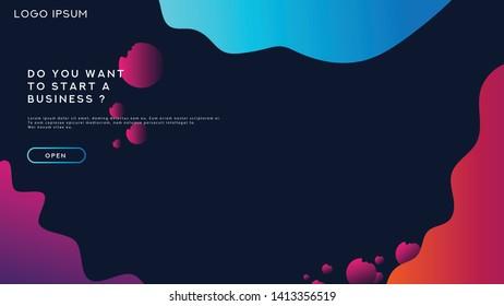Web Landing Page Design Flat UI Color Gradient, Design Minimalis With Liquid, Vector Website.
