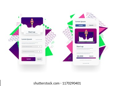 Web landing page design templates management app, Social media marketing. Modern vector illustration for website and mobile website development