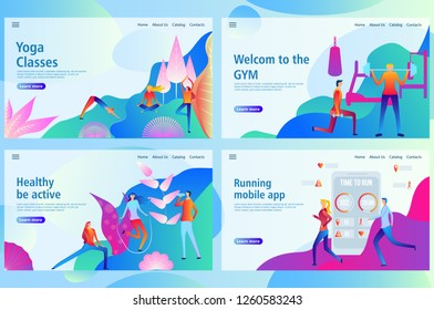 Web landing page template for physical training and sports activities banner design. Flat vector icon. Fitness and GYM people. Vector illustration for the website