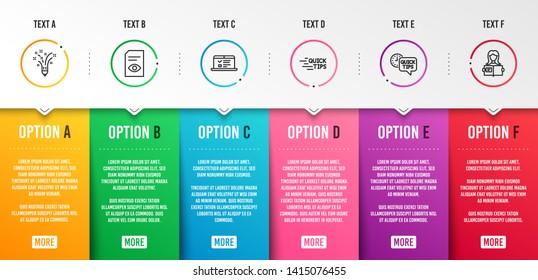 Web lectures, Education and Quick tips icons simple set. View document, Inspiration and Woman read signs. Online test, Quick tips. Education set. Infographic template. 6 steps timeline. Vector