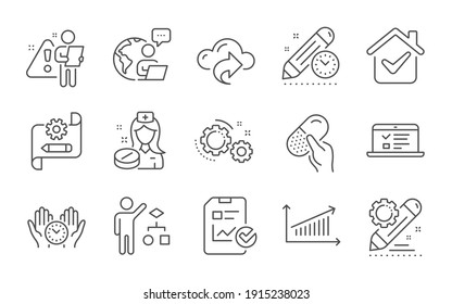 Web lectures, Gears and Capsule pill line icons set. Cloud share, Algorithm and Safe time signs. Project deadline, Nurse and Report checklist symbols. Line icons set. Vector