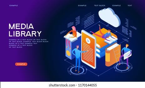 Web library. Technology and literature. Digital ibrary web banner. People interact with digital books. Isometric images. 3d vector illustration.