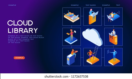 Web library. Technology and literature. Digital library web banner. People interact with digital books. Isometric images. 3d vector illustration.