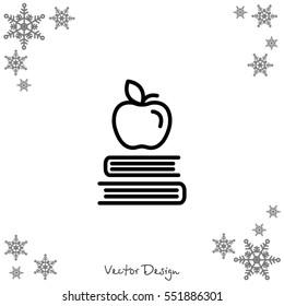 Web line icon. Apple on books, knowledge icon