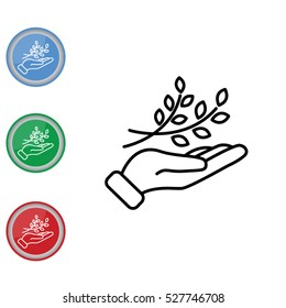 Web line icon. A branch in the hand