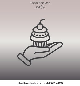 Web line icon. Cake (dessert) in hand