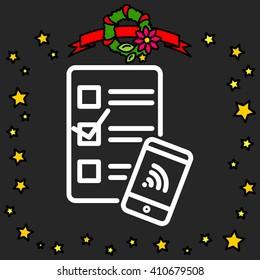 Web line icon. Checklist and smartphone with wi-fi