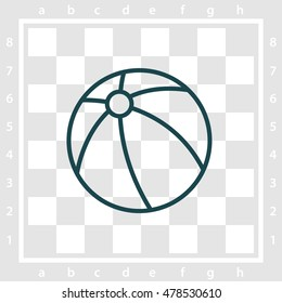 Web line icon. Children's ball, baby toy