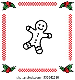 Web line icon. Christmas gingerbread