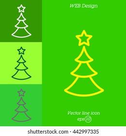 Web line icon. Christmas tree