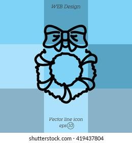 Web line icon. Christmas wreath