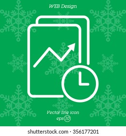 Web line icon. Clock and graph, analytics