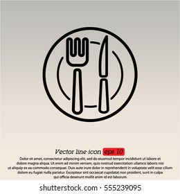 Web line icon. Cutlery (plate , fork and knife)