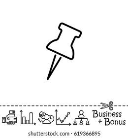 Web line icon. Drawing pin