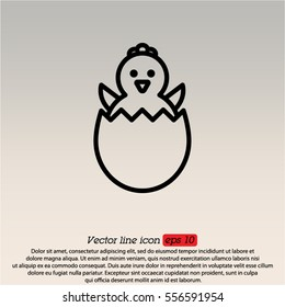 Web line icon. Easter chicken