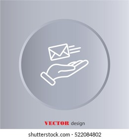 Web line icon. E-mail (letter) in hand