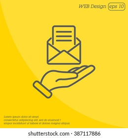 Web line icon. E-mail (open lettter) in hand.
