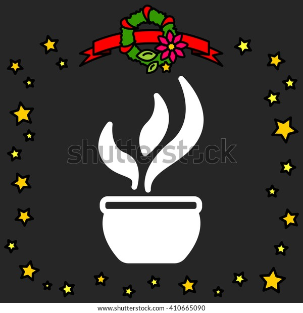 Web line icon. Flower in a pot