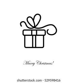Web line icon. Gift, festive box.