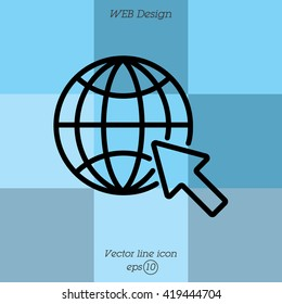 Web line icon. Globe, go to web