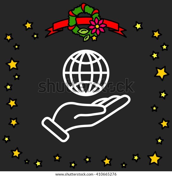 Web line icon. Globe in hand.