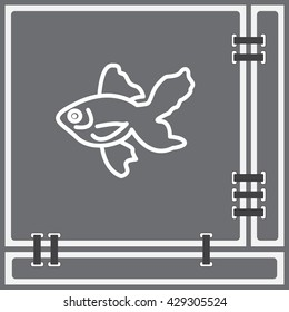 Web line icon. Gold fish.