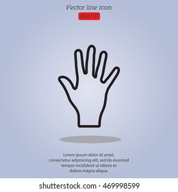 Web line icon. Hand, bunch of fives