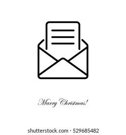 Web line icon. Letter, read message