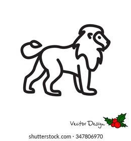 Web line icon - Lion; wild animals